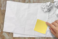 Blank crumpled sticky note paper on texture paper as concept Stock Photo