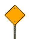 Blank diamond caution sign photograph of a shaped yellow traffic with black border all text letters have been removed isolated on Stock Photo