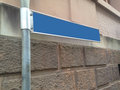 Blank direction blue sign on a metal pole the space is for free caption Stock Images
