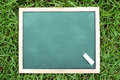 Blank dirty chalkboard on grass slightly for background Stock Photography