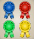 Blank emblems with ribbons awarded high detailed Royalty Free Stock Photography