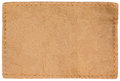 Blank Empty Beige Natural Leather Jeans Tag Label, Large Detailed Isolated Horizontal Copy Space Closeup