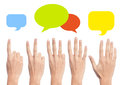 Blank empty colorful speech bubbles four different thoughts various opinions Royalty Free Stock Photo