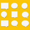 Blank empty white speech bubbles with shadows in flat style. Vector illustration.