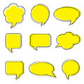 Blank empty white speech bubbles. Stickers of speech bubbles vector set. Royalty Free Stock Photo