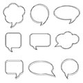 Blank empty white speech bubbles. Stickers of speech bubbles vector set Royalty Free Stock Photo
