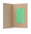 Blank gift card in paper cover green Stock Photo