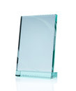 Blank glass award plate isolated on white background with clipping path and copy space Stock Image