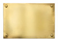 Blank gold or brass metal sign or nameboard isolated Royalty Free Stock Image