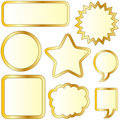 Blank gold textured bubble stickers Royalty Free Stock Photo