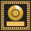 Blank golden LP disc in the frame Royalty Free Stock Photo