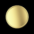 Blank golden medal label on black isolated with clipping path Stock Photography