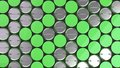 Blank green badges on black background