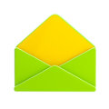 Blank green and yellow glossy envelope isolated Stock Image