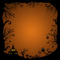 Blank halloween card design on orange background Royalty Free Stock Images