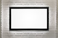 Blank hd tv at the wall modern flat screen white brick with copy space Stock Image