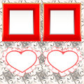 Blank instant photo frames with heart on wood Royalty Free Stock Photo