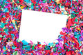 Blank invitation on confetti Royalty Free Stock Images