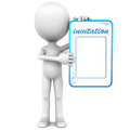 Blank invitation held up little d man white background blue text Stock Photos