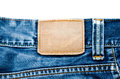 Blank jeans label leather denim to add your own design or text Stock Photography
