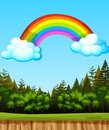 Blank landscape in nature park scene with big rainbow in the sky Royalty Free Stock Photo