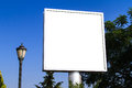Blank large advertising billboard sign white signs on blue clear sky front view for your advertisement and design Stock Photo