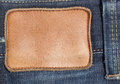 Blank leather jeans label on a blue jeans Stock Photography