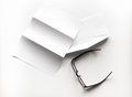 blank of letter paper and envelope with eyeglasses and pen Royalty Free Stock Photo