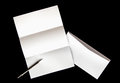 blank of letter paper and white envelope with pen Royalty Free Stock Photo