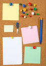Blank memo notes on cork board Royalty Free Stock Photo