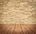 Blank Modern Brick Wall and wooden floor Stock Photography