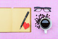 Blank note book with coffee cup of and red heart vintage style Stock Image