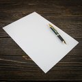 Blank note paper with pen Royalty Free Stock Photo