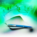 Blank note paper with pen in colorful background Stock Image