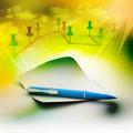 Blank note paper with pen in colorful background Royalty Free Stock Image