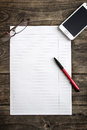 Blank note paper with pen on table Royalty Free Stock Photo