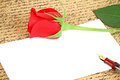 Blank note red rose pen Royalty Free Stock Images