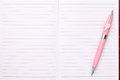 Blank notebook and ballpoint pen close up of Royalty Free Stock Photo