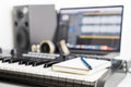 Blank notebook on music studio Royalty Free Stock Photo