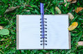 Blank notebook with purple pen  on green grass Royalty Free Stock Photo