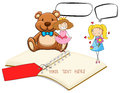 Blank notebook with two girls and teddybear background