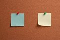 Blank notes pinned on cork two pieces of note are to a corkboard Stock Photos