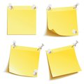 Blank notes pinned on corkboard ready for your text yellow stick note front view vector illustration set Stock Photo