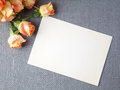 Blank old greeting card with orange rose flowers Royalty Free Stock Photo
