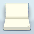 Blank open hard-cover book mockup. Empty notebook spread with fo