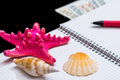 Blank open notepad with seashells pen and dollar isolated on black background Royalty Free Stock Images