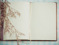 Blank page of note book and dry flower Royalty Free Stock Photo