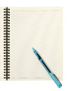 Blank page with pen spiral bound notebook blue writing Stock Images