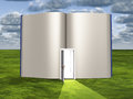 Blank pages of open book with doorway emiting light Royalty Free Stock Images