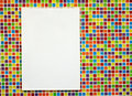 Blank paper board on colorful mosaic Stock Images